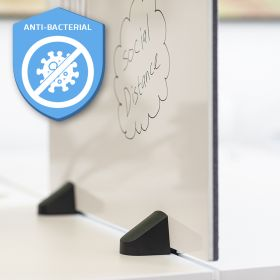 Scheidingsscherm combi whiteboard / prikbord - Incl. bureauklemmen voor dubbel bureau - 58x120 cm